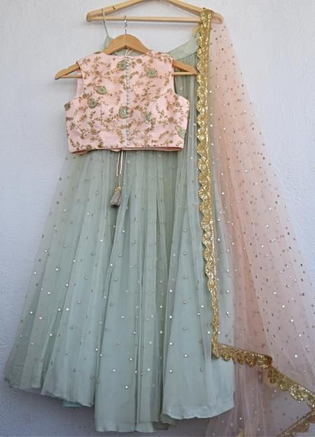 Pearl Lehenga With Pale Turquoise