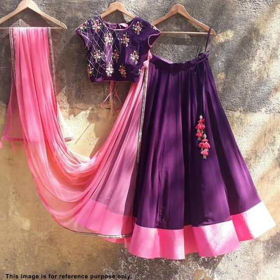Purple Color Partywear Embroidered